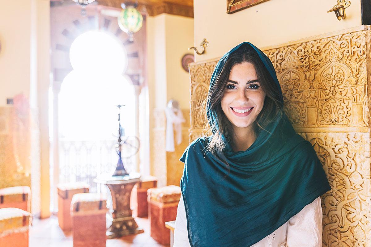 smiling Syrian muslim woman